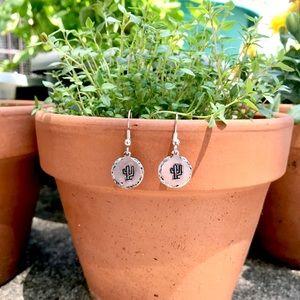 Handmade hammered edge cactus earrings